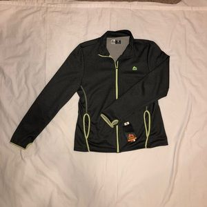 RBX Activewear Full Zip Jacket Gray with Green Sti